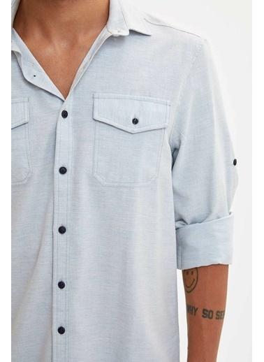 DeFacto Çift Cepli Slim Fit Gömlek Mavi